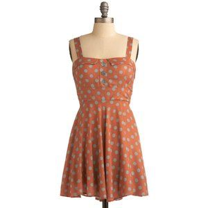 MODCLOTH Burnt Orange Polka Dot Dress